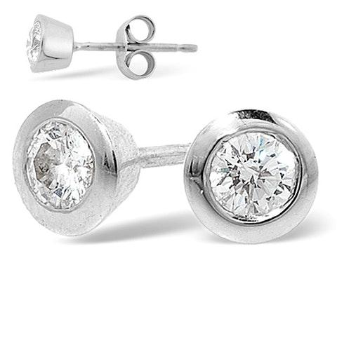 Platinum Rub-over Diamond Stud Earrings - 1CT - G/VS - 7mm - image 1