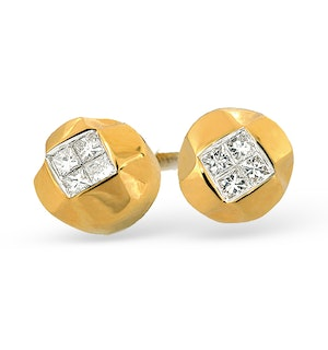 18K Gold Princess Diamond Stud Earrings (0.15ct)
