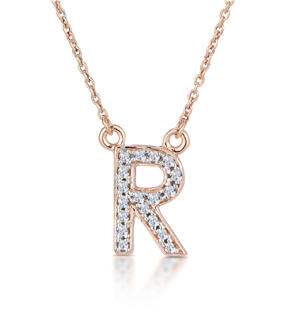 Initial 'R' Necklace Diamond Encrusted Pave Set in 9K Rose Gold - image 1