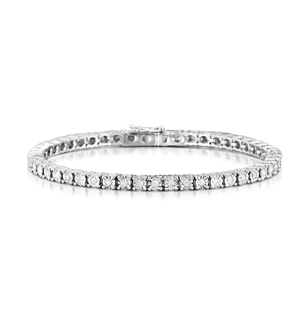 Silver Diamond Set 1.00ct Tennis Bracelet - image 1