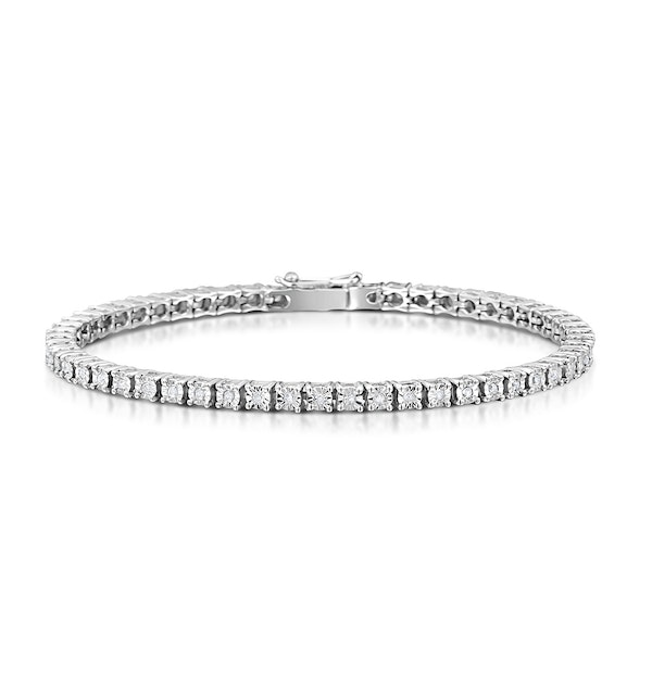 Silver Diamond Set 0.57ct Tennis Bracelet - image 1