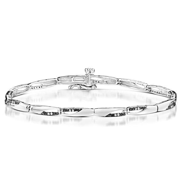 0.25ct Diamond and Black Diamond Silver Bar Bracelet - image 1