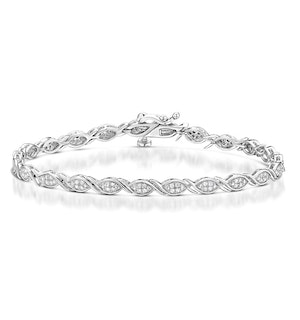 0.36ct Diamond and Silver Twist Detail Bracelet