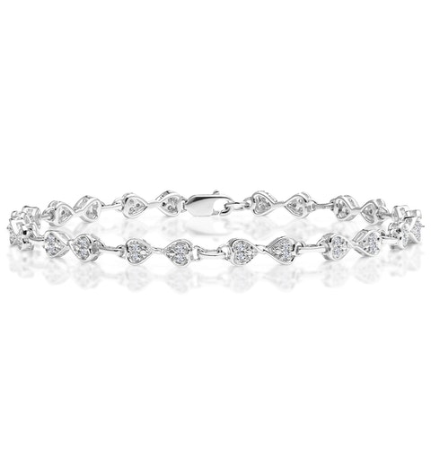 0.25ct Diamond Heart Bracelet Set In Silver - image 1