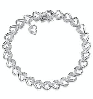 Diamond Silver Heart Bracelet - UD3256
