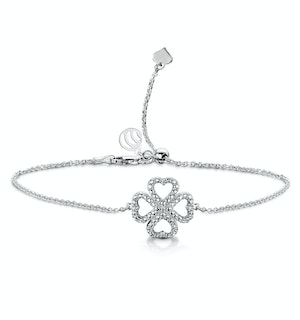 Allura Collection Clover Pave Diamond Bracelet Set in 925 Silver