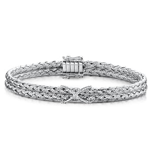 Allura Collection Twisted Diamond Bangle 0.02ct in 925 Silver - ud3263