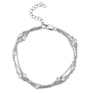 Tesoro Collection Multi Strand White Topaz Bracelet in 925 Silver