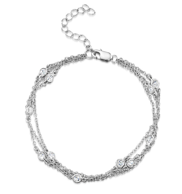 Tesoro Collection Multi Strand White Topaz Bracelet in 925 Silver - image 1
