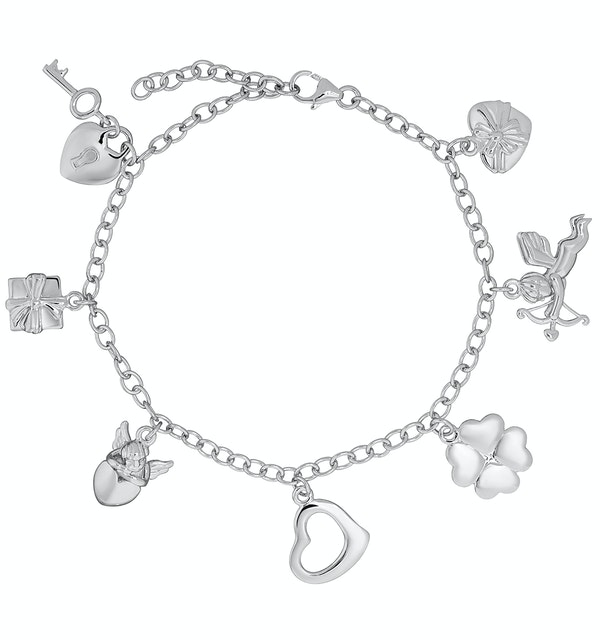 Silver Lucky In Love Key and Heart Charm Bracelet - Tesoro Collection - image 1