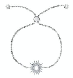 Silver Starry Sun Bracelet with Adjustable Lariat - Tesoro Collection