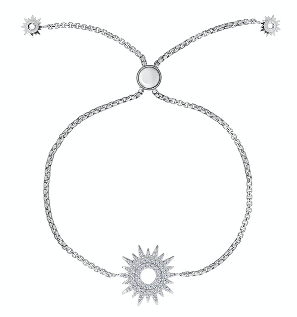 Silver Starry Sun Bracelet with Adjustable Lariat - Tesoro Collection - image 1