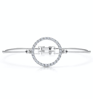 Silver Circle of Life Bangle with White Topaz - Tesoro Collection