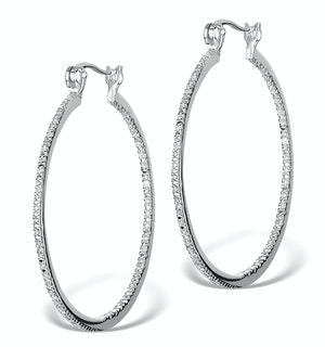 Diamond Hoop Earrings 35mm in Sterling Silver - Ug3237