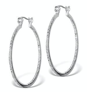 0.25ct Lab Diamond Hoop Earrings 35mm Set in 925 Silver