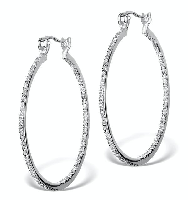 Diamond Hoop Earrings 35mm in Sterling Silver - Ug3237 - image 1