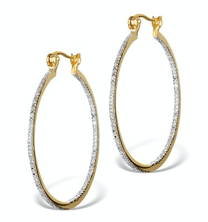 Diamond Hoop Earrings 35mm in Gold Vermeil - Ug3238