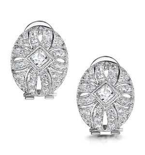 Tesoro Collection Vintage White Topaz Earrings in 925 Silver