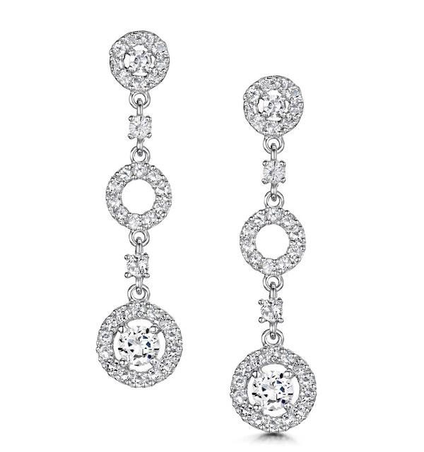 Tesoro Collection White Topaz Circle Triple Dangle Earrings 925 Silver - image 1