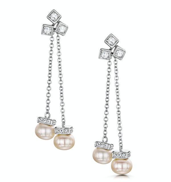 Pearl White Topaz Triple Square Drop Tesoro Earrings in 925 Silver - image 1