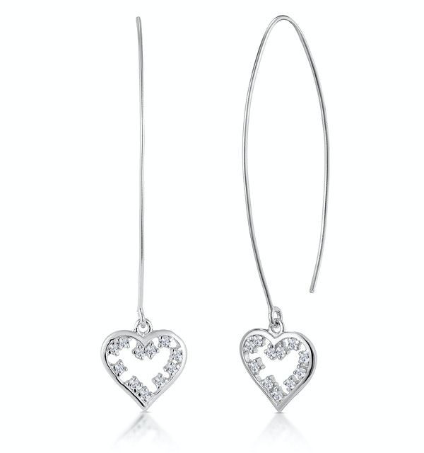 White Topaz Heart Threader Earrings in Silver - Tesoro Collection - image 1