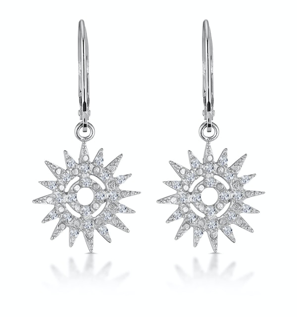 Silver Starry Sun Dial Earrings with White Topaz - Tesoro Collection - image 1