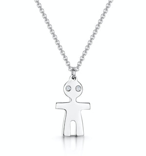 Allura Collection Boy Design Diamond Necklace 0.02ct in 925 Silver
