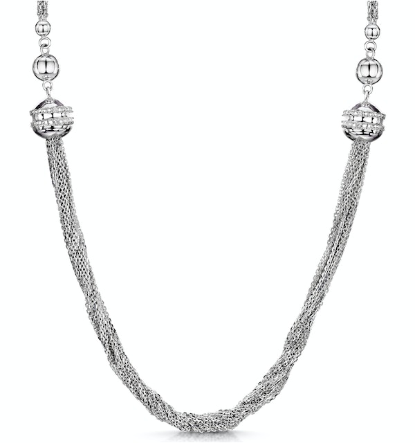 Allura Collection Tassle Design Diamond Necklace 0.02ct in 925 Silver - image 1
