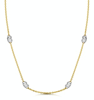 Tesoro Collection Two Tone Moon Cut Necklace in 925 Silver - UP3248
