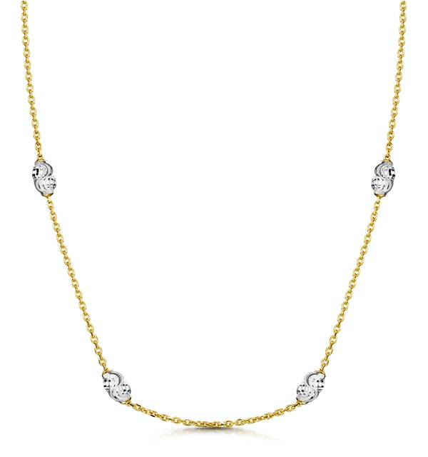 Tesoro Collection Two Tone Moon Cut Necklace in 925 Silver - UP3248 - image 1