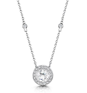 Round Bezel Set White Topaz Tesoro Necklace in 925 Silver - UP3240