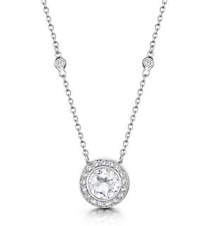Round Bezel Set White Topaz Tesoro Necklace in 925 Silver - UP3240