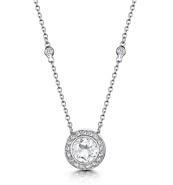 Round Bezel Set White Topaz Tesoro Necklace in 925 Silver - UP3240 - image 1