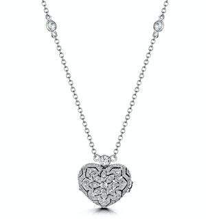 Vintage Heart Locket Lab Diamond Necklace White Topaz in 925 Silver