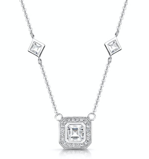 Princess White Topaz in Bezel Setting Tesoro Necklace in 925 Silver