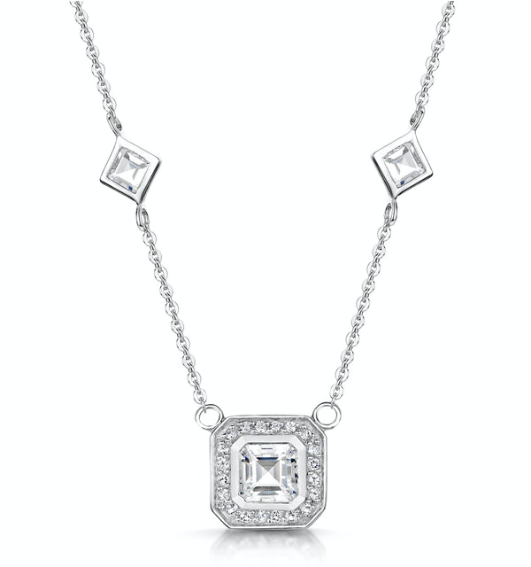 Princess White Topaz in Bezel Setting Tesoro Necklace in 925 Silver - image 1