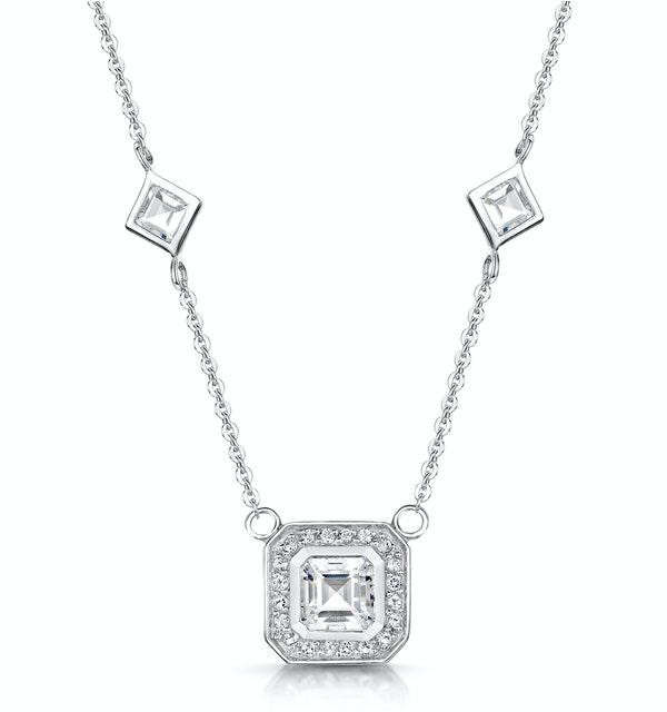 Princess White Topaz in Bezel Setting Tesoro Necklace in 925 Silver - image 1