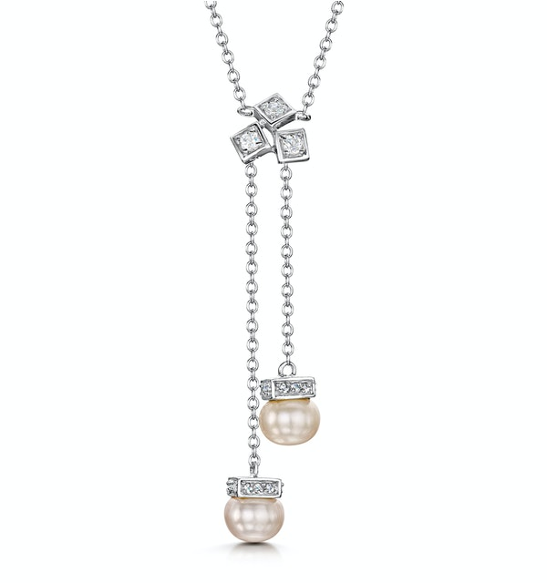 Pearl and White Topaz Triple Square Drop Tesoro Necklace in 925 Silver - image 1