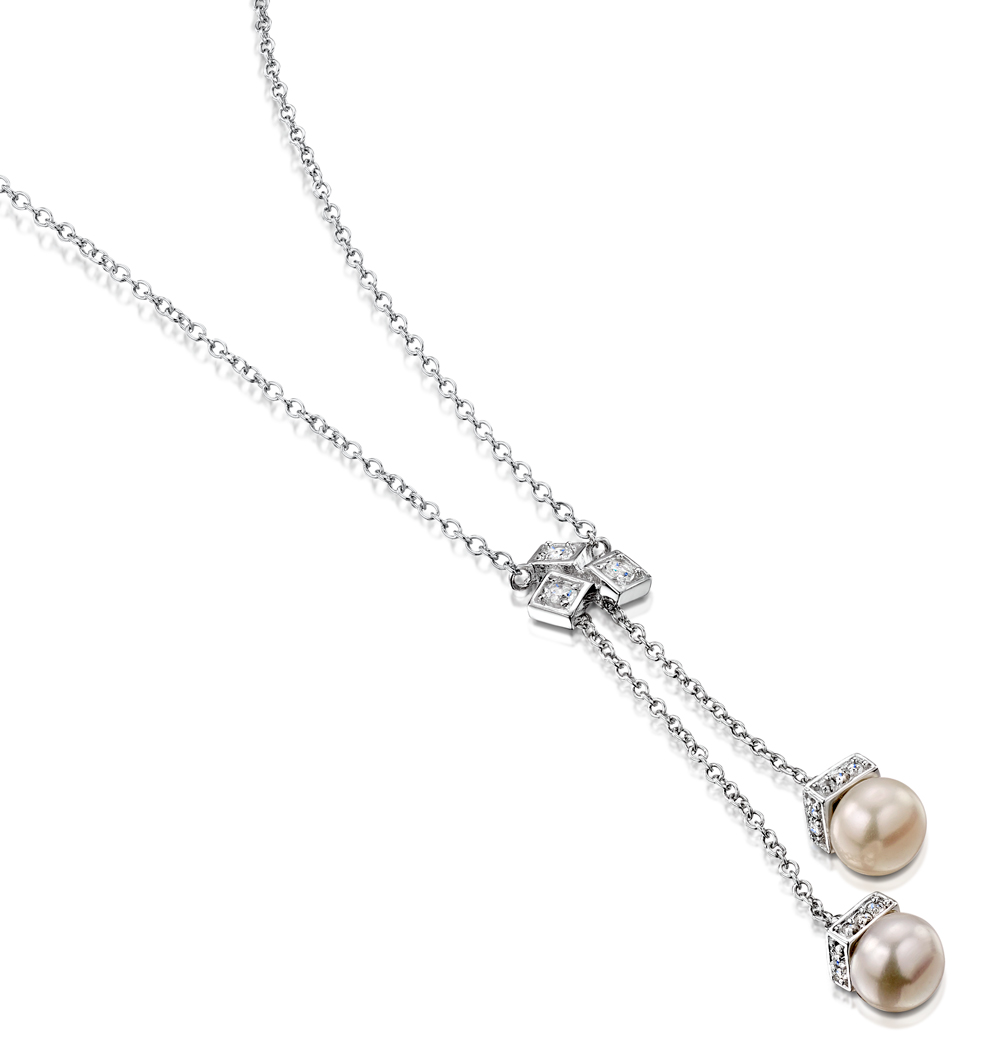 Pearl and White Topaz Triple Square Drop Tesoro Necklace