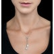 Pearl and White Topaz Triple Square Drop Tesoro Necklace in 925 Silver - image 2