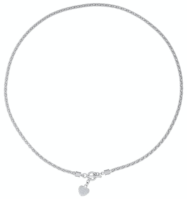 Silver and Diamond Heart Byzantine Necklace - Tesoro Collection - image 1