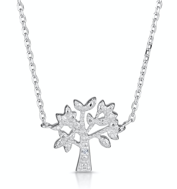 Diamond and Silver Tree of Life Necklace - Tesoro Collection - image 1