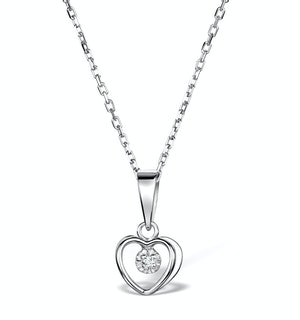 Diamond Heart Necklace in Sterling Silver - UR3229