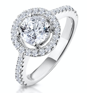 Ella Halo Diamond Engagement Ring 1.70ct E/Si1 in Platinum