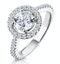 Ella Halo Diamond Engagement Ring 1.70ct E/Si1 in Platinum - image 1