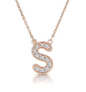 Initial 'S' Necklace Diamond Encrusted Pave Set in 9K Rose Gold