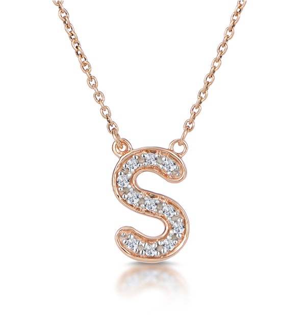 Initial 'S' Necklace Diamond Encrusted Pave Set in 9K Rose Gold - image 1