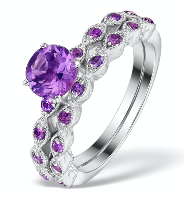 Stacking Ring Set Amethyst in Sterling Silver - UT33228 - image 1