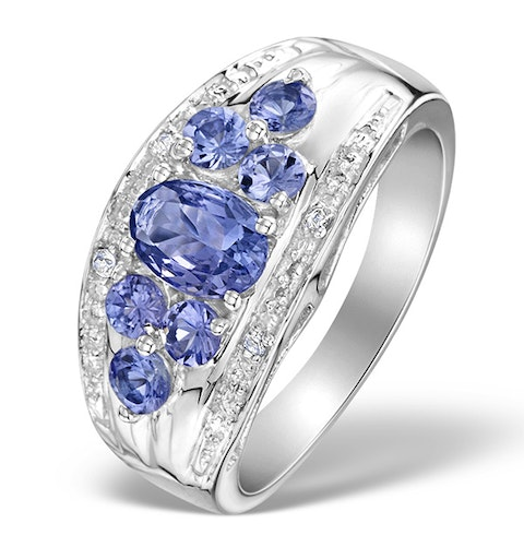 White Topaz  and 1.39 Carats  AA Tanzanite 925 Sterling Silver Ring - image 1