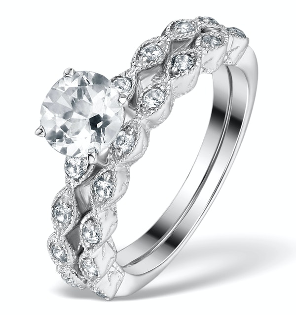 Stacking  Ring Set White Topaz in Sterling Silver - UT33232 - image 1